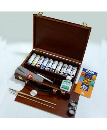 Caja de Madera 10 acrilicos titan extrafino 40-TA