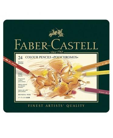 Estuche de metal Faber-Castell 24 lápices Polychromos