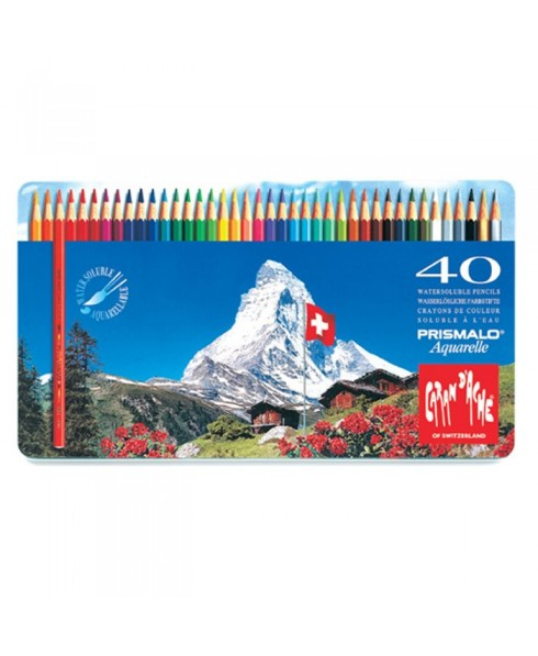 Caja metal prismalo 40 colores caran d'ache acuarelables