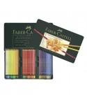 Estuche de metal faber-castell 60 lapiceros policolores