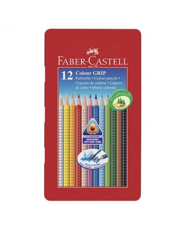 Estuche de metal 12 lápices triangulares Faber-Castell