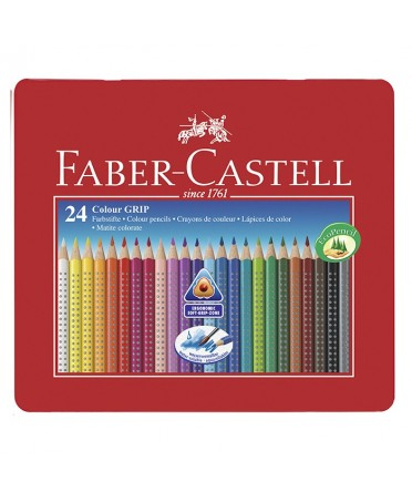 Estuche de metal faber-castell 24 lapiceros triangulares