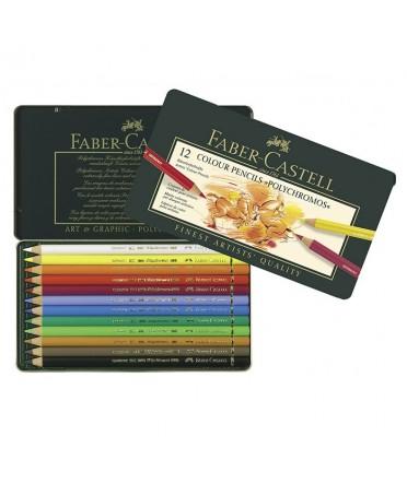 Estuche de metal 12 lápices Polychromos Faber-Castell