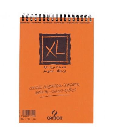 Bloc esbozo XL Canson microperforado espiral corto 90 gramos Grosor 90 gr Formato A5 - 14.8x21 cm Grano Grano Atenuado