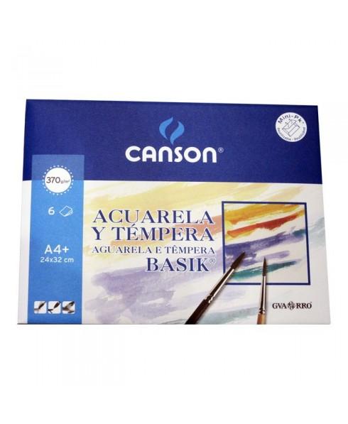 Pack acuarela y tempera Basik Canson 6 hojas 370 gramos