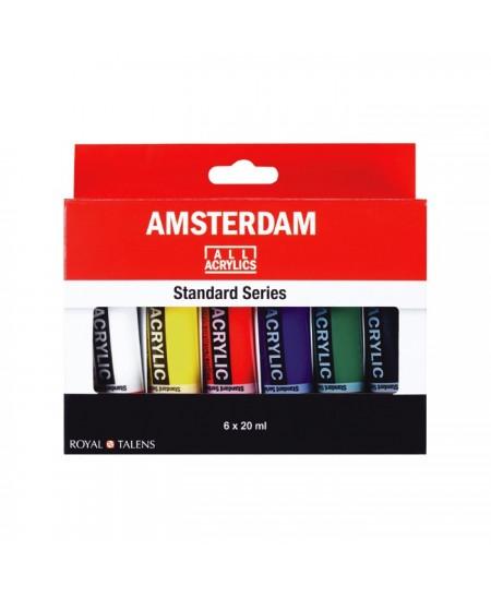 Set Pintura Acrílica Amsterdam 6 Tubos 20 ml