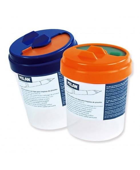 Bote Plástico Limpia Pinceles con Tapa MILAN