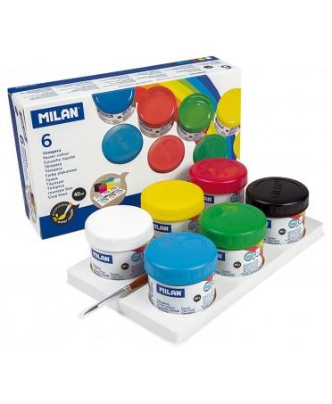 Caja 6 Témperas Colores 40 ml con Pincel MILAN