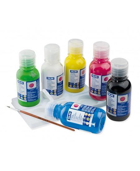 Caja 6 Botellas Témperas 125 ml con Pincel MILAN