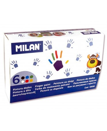 Estuche 6 Tarros Pintura para Dedos de Colores 100 ml MILAN