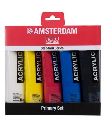 Set basico de 5 acrilicos amsterdam colores básicos