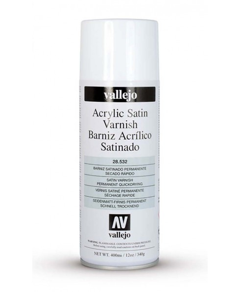 Barniz acrílico satinado en spray Vallejo 400 ml