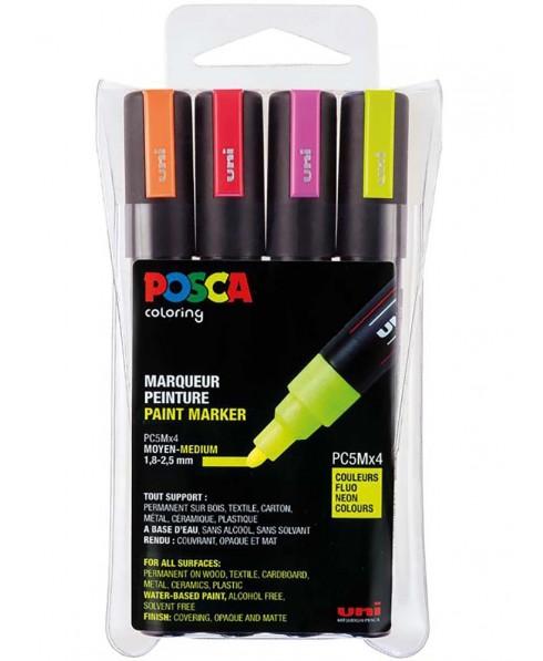 Estuche Fluor PC5M/4C Posca con 4 rotuladores al agua punta  1,8-2,5 mm