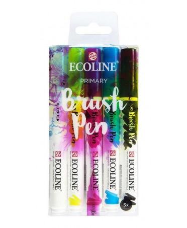 Estuche 5 rotuladores acuarelables punta pincel colores primarios Ecoline
